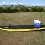 Fishing SUP with 48 quart cooler setup