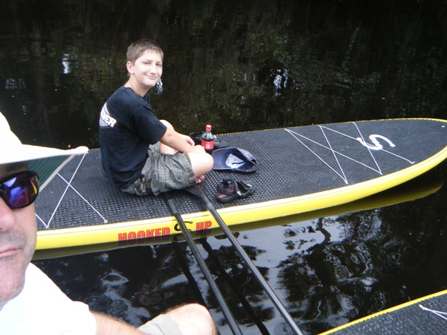2 Hooked SUP's Relaxing on a river